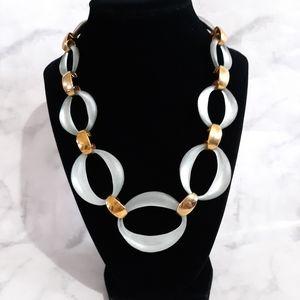 Alexis Bittar light blue lucite necklace